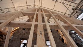 Restauration charpente transept église de Plombières